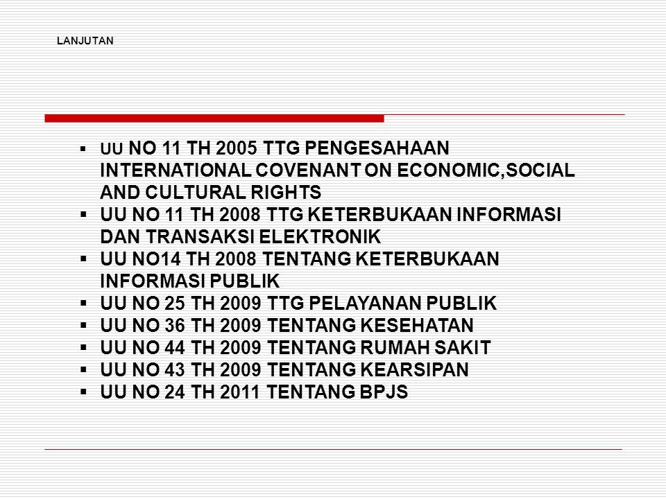  UU NO 11 TH 2005 TTG PENGESAHAAN INTERNATIONAL COVENANT ON ECONOMIC,SOCIAL AND CULTURAL RIGHTS  UU NO 11 TH 2008 TTG KETERBUKAAN INFORMASI DAN TRANSAKSI ELEKTRONIK  UU NO14 TH 2008 TENTANG KETERBUKAAN INFORMASI PUBLIK  UU NO 25 TH 2009 TTG PELAYANAN PUBLIK  UU NO 36 TH 2009 TENTANG KESEHATAN  UU NO 44 TH 2009 TENTANG RUMAH SAKIT  UU NO 43 TH 2009 TENTANG KEARSIPAN  UU NO 24 TH 2011 TENTANG BPJS LANJUTAN