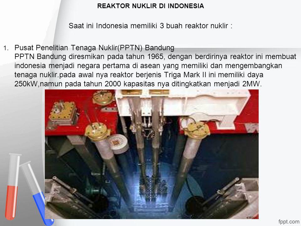 REAKTOR NUKLIR DI INDONESIA Saat ini Indonesia memiliki 3 buah reaktor nuklir : 1. Pusat Penelitian Tenaga Nuklir(PPTN) Bandung PPTN Bandung diresmika