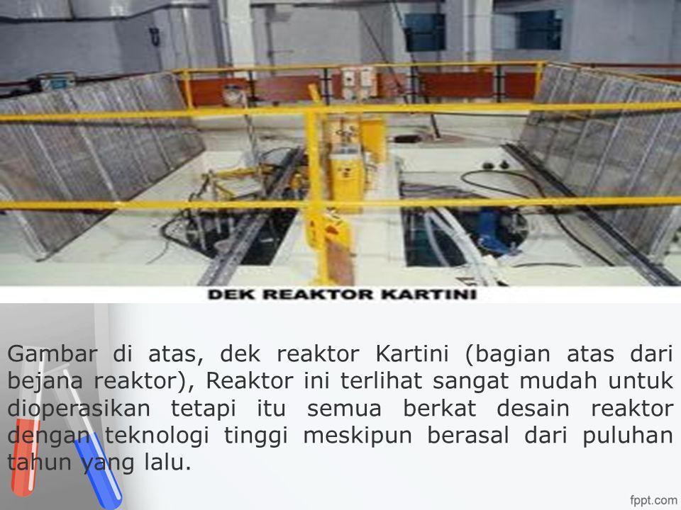 Gambar di atas, dek reaktor Kartini (bagian atas dari bejana reaktor), Reaktor ini terlihat sangat mudah untuk dioperasikan tetapi itu semua berkat de