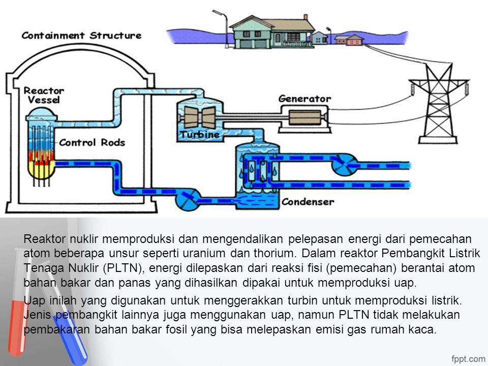 Reaktor nuklir memproduksi dan mengendalikan pelepasan energi dari pemecahan atom beberapa unsur seperti uranium dan thorium. Dalam reaktor Pembangkit