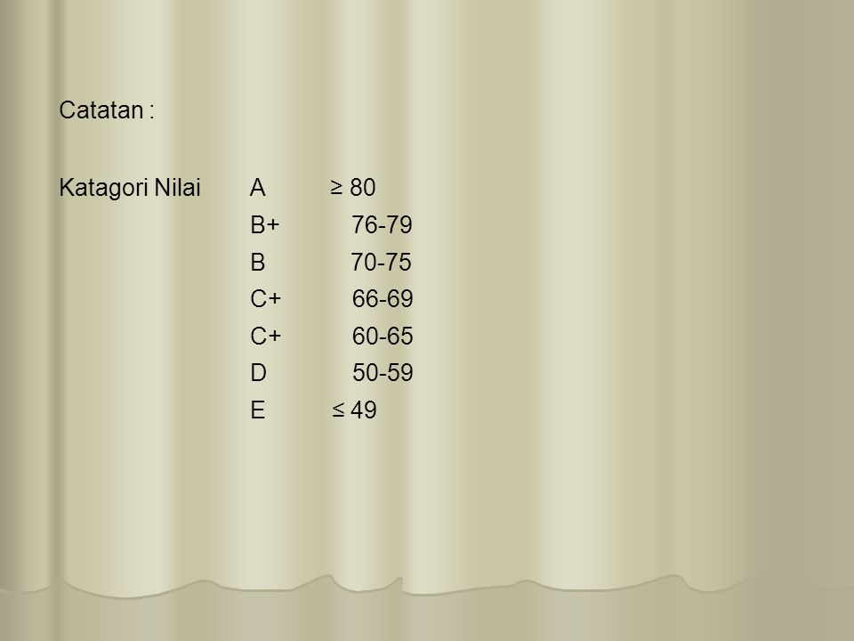 Catatan : Katagori NilaiA ≥ 80 B+ 76-79 B 70-75 C+ 66-69 C+ 60-65 D 50-59 E ≤ 49