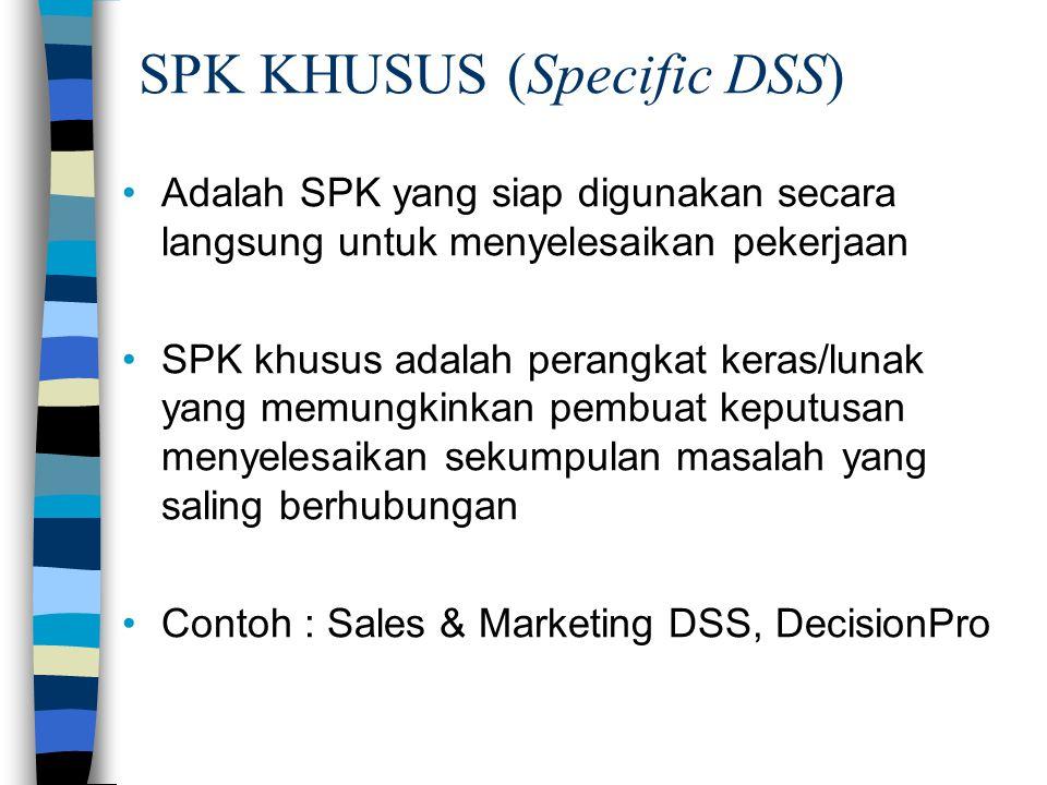 Adalah SPK yang siap digunakan secara langsung untuk menyelesaikan pekerjaan SPK khusus adalah perangkat keras/lunak yang memungkinkan pembuat keputusan menyelesaikan sekumpulan masalah yang saling berhubungan Contoh : Sales & Marketing DSS, DecisionPro SPK KHUSUS (Specific DSS)