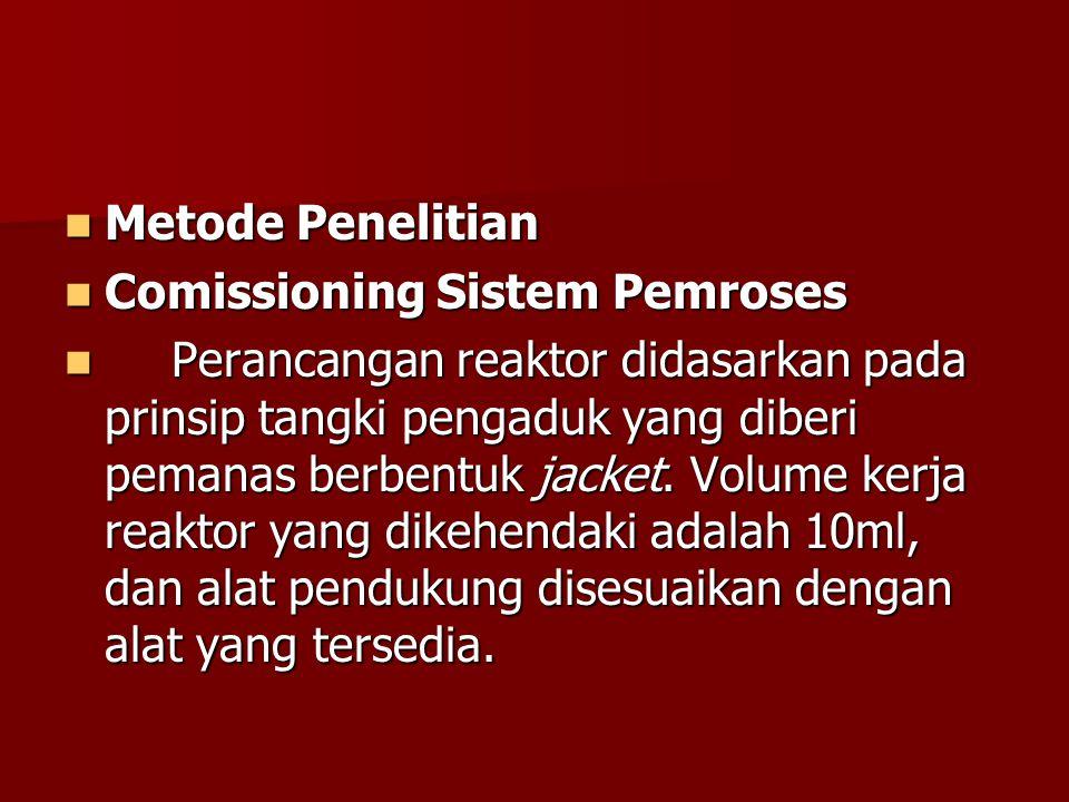 Metode Penelitian Metode Penelitian Comissioning Sistem Pemroses Comissioning Sistem Pemroses Perancangan reaktor didasarkan pada prinsip tangki pengaduk yang diberi pemanas berbentuk jacket.