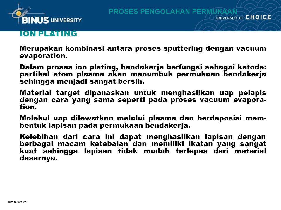 Bina Nusantara PROSES PENGOLAHAN PERMUKAAN ION PLATING Merupakan kombinasi antara proses sputtering dengan vacuum evaporation. Dalam proses ion platin