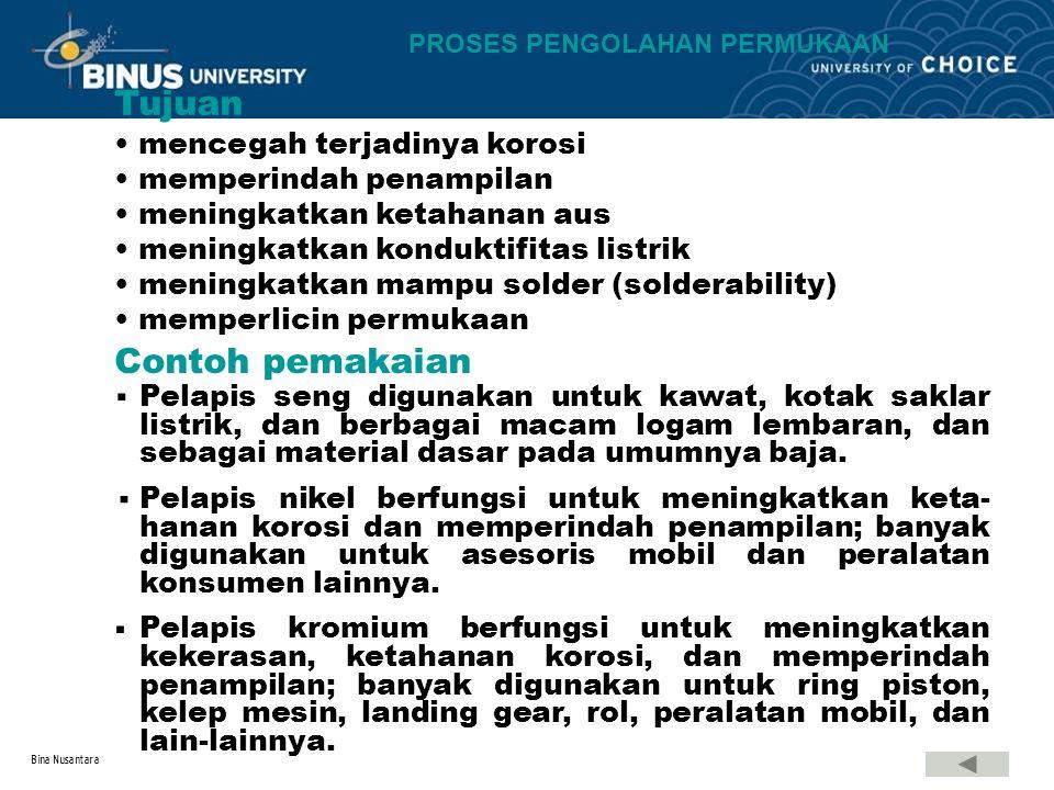 Bina Nusantara mencegah terjadinya korosi memperindah penampilan meningkatkan ketahanan aus meningkatkan konduktifitas listrik meningkatkan mampu sold