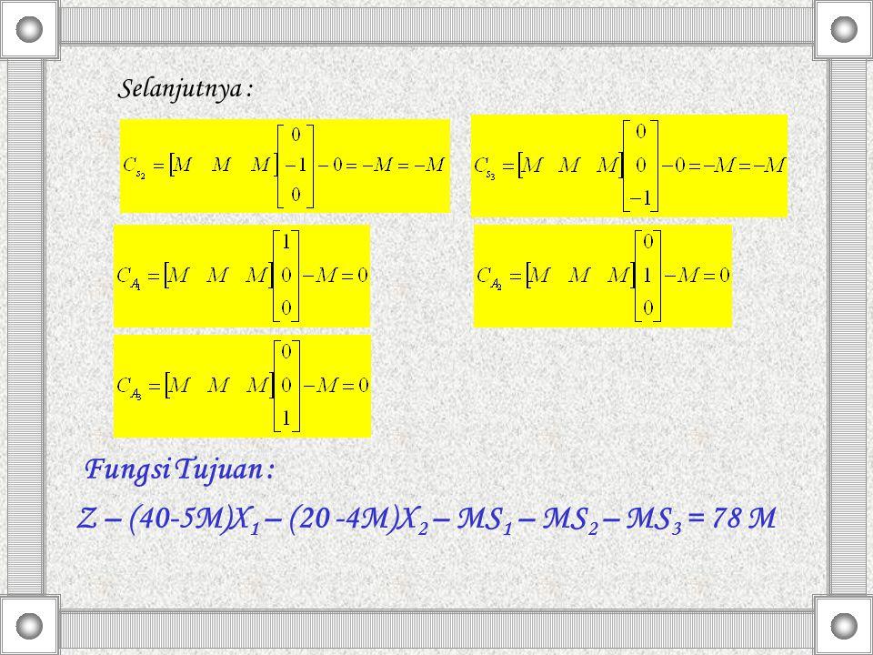 Selanjutnya : Fungsi Tujuan : Z – (40-5M)X 1 – (20 -4M)X 2 – MS 1 – MS 2 – MS 3 = 78 M