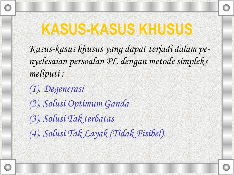 KASUS-KASUS KHUSUS Kasus-kasus khusus yang dapat terjadi dalam pe- nyelesaian persoalan PL dengan metode simpleks meliputi : (1). Degenerasi (2). Solu