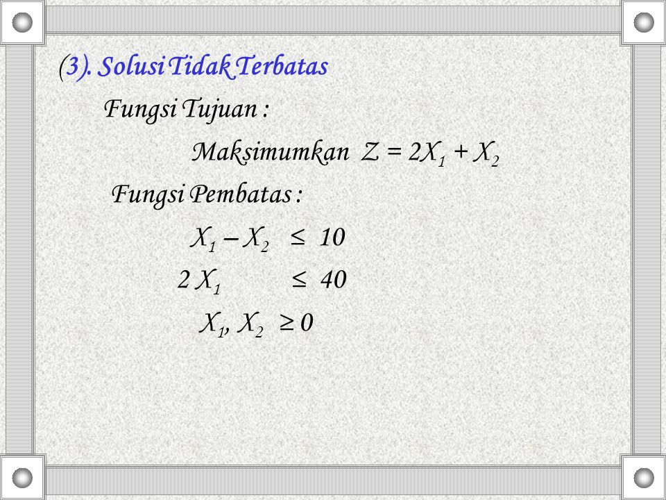 (3). Solusi Tidak Terbatas Fungsi Tujuan : Maksimumkan Z = 2X 1 + X 2 Fungsi Pembatas : X 1 – X 2 ≤ 10 2 X 1 ≤ 40 X 1, X 2 ≥ 0
