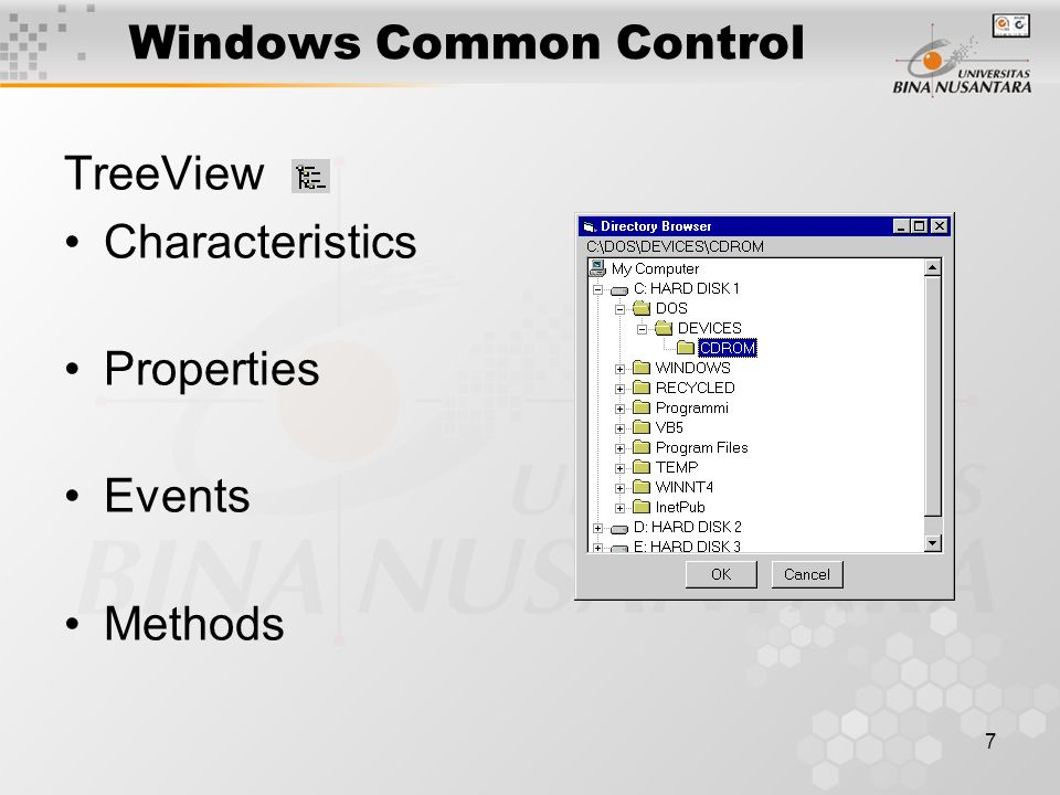 7 Windows Common Control TreeView Characteristics Properties Events Methods