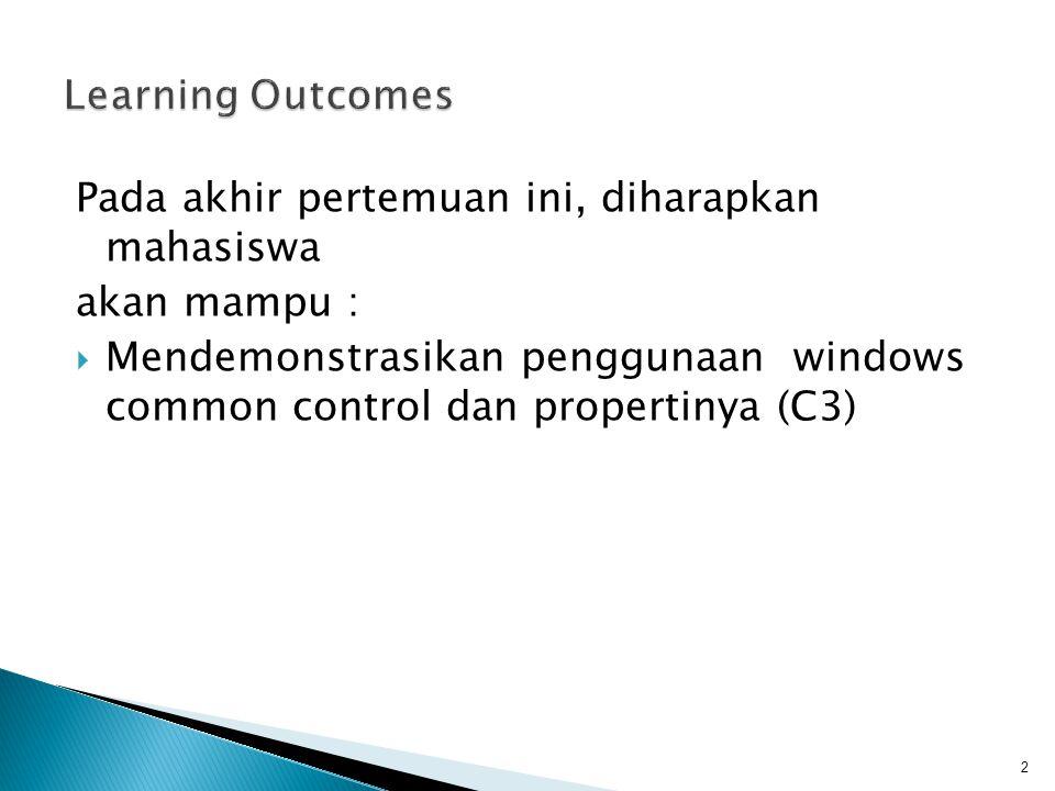 Windows Common Control  Jenis Jenis Common Control  Characteristic  Properties  Event  Method 3
