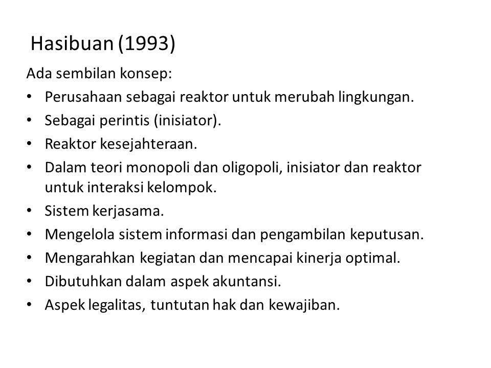 Hasibuan (1993) Ada sembilan konsep: Perusahaan sebagai reaktor untuk merubah lingkungan. Sebagai perintis (inisiator). Reaktor kesejahteraan. Dalam t