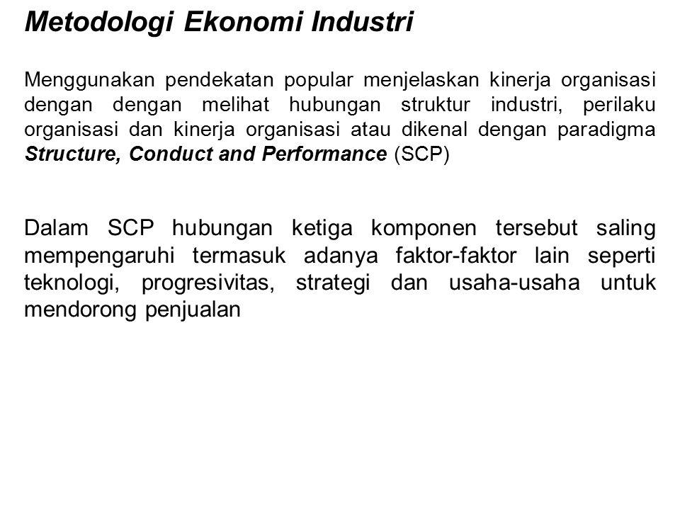 Metodologi Ekonomi Industri Menggunakan pendekatan popular menjelaskan kinerja organisasi dengan dengan melihat hubungan struktur industri, perilaku o