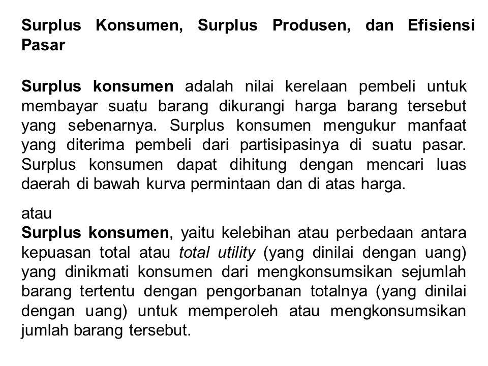 Surplus Konsumen, Surplus Produsen, dan Efisiensi Pasar Surplus konsumen adalah nilai kerelaan pembeli untuk membayar suatu barang dikurangi harga bar