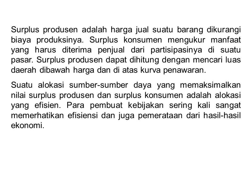 Surplus produsen adalah harga jual suatu barang dikurangi biaya produksinya. Surplus konsumen mengukur manfaat yang harus diterima penjual dari partis