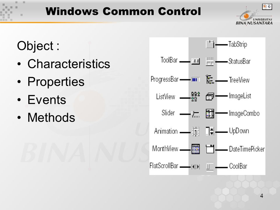 4 Windows Common Control Object : Characteristics Properties Events Methods