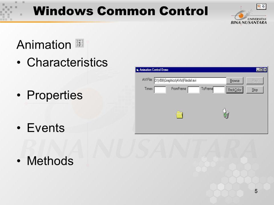 5 Windows Common Control Animation Characteristics Properties Events Methods