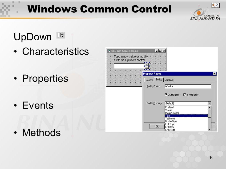 6 Windows Common Control UpDown Characteristics Properties Events Methods