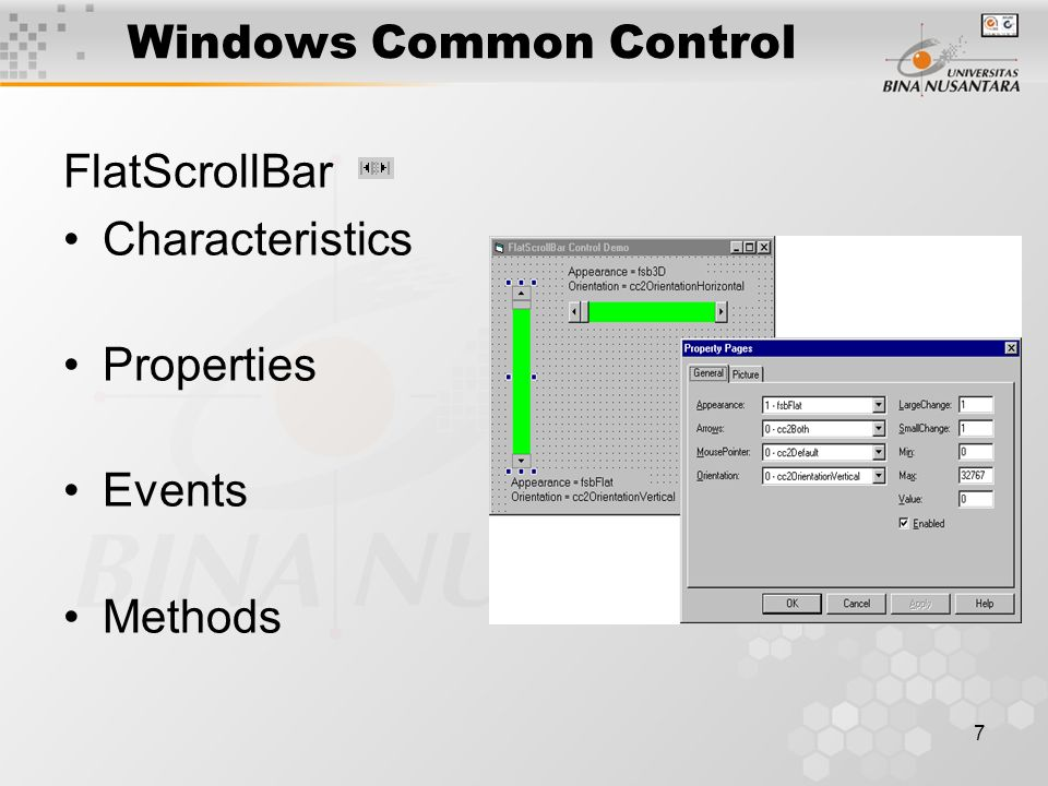 7 Windows Common Control FlatScrollBar Characteristics Properties Events Methods