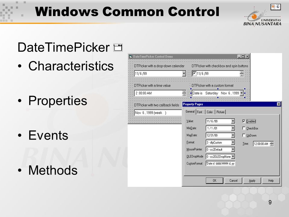 9 Windows Common Control DateTimePicker Characteristics Properties Events Methods