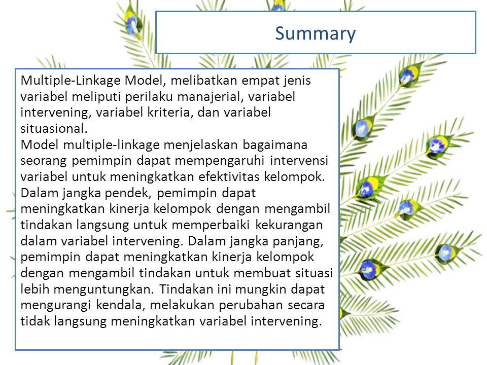 Summary Multiple-Linkage Model, melibatkan empat jenis variabel meliputi perilaku manajerial, variabel intervening, variabel kriteria, dan variabel situasional.