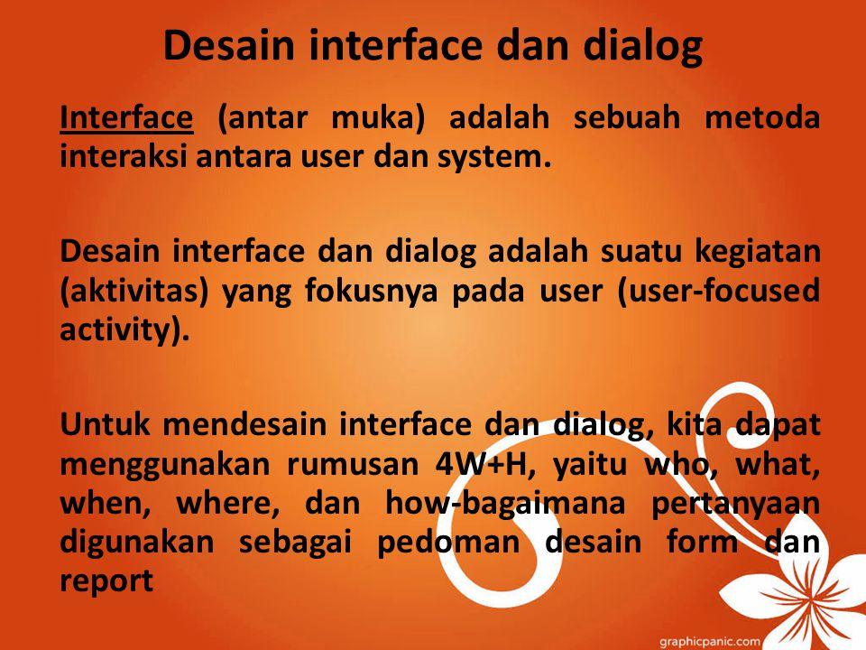 Desain interface dan dialog Interface (antar muka) adalah sebuah metoda interaksi antara user dan system. Desain interface dan dialog adalah suatu keg