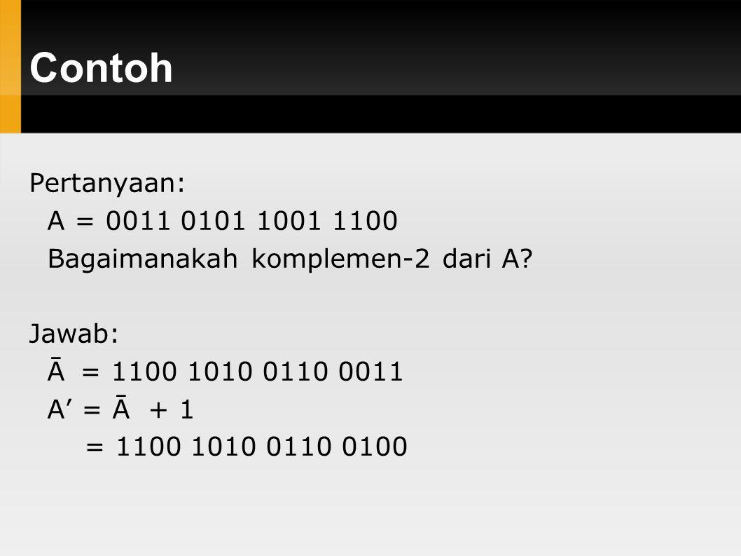 Contoh Pertanyaan: A = 0011 0101 1001 1100 Bagaimanakah komplemen-2 dari A.