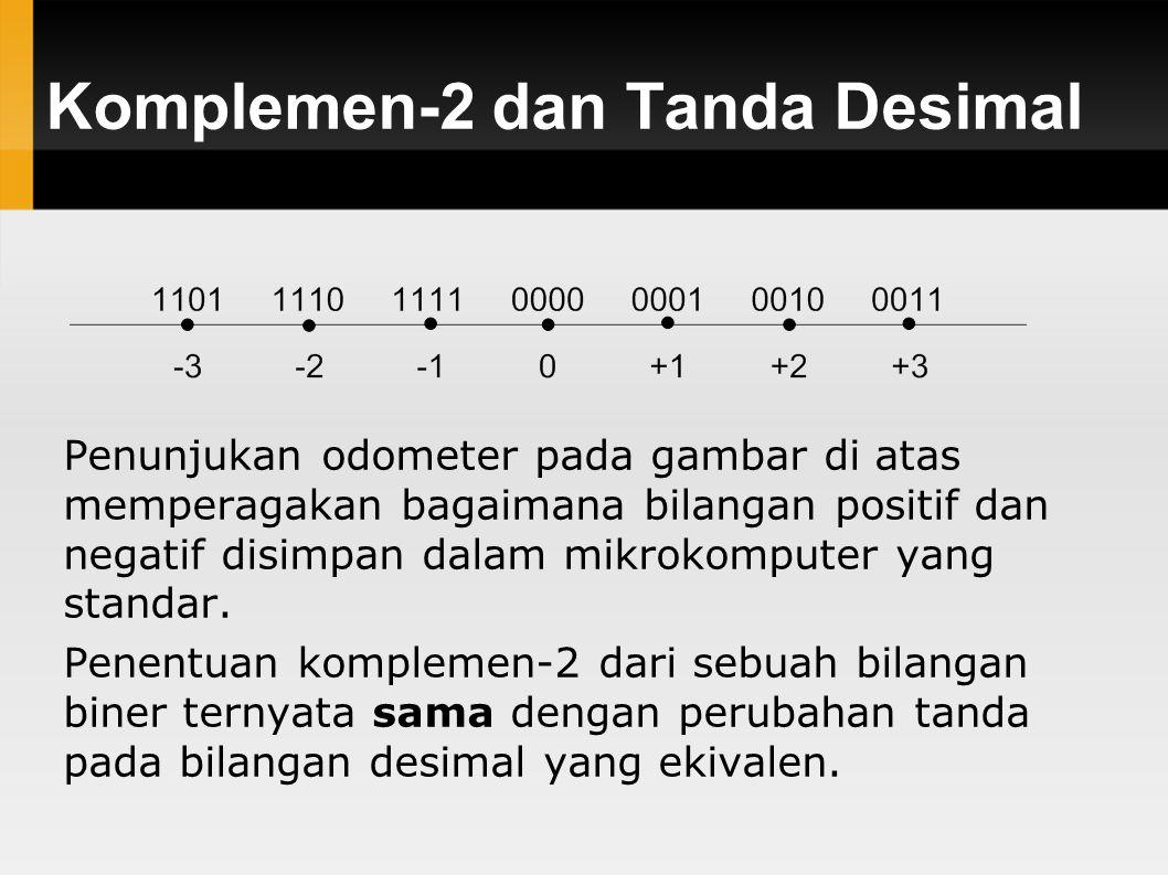 Komplemen-2 dan Tanda Desimal Penunjukan odometer pada gambar di atas memperagakan bagaimana bilangan positif dan negatif disimpan dalam mikrokomputer yang standar.