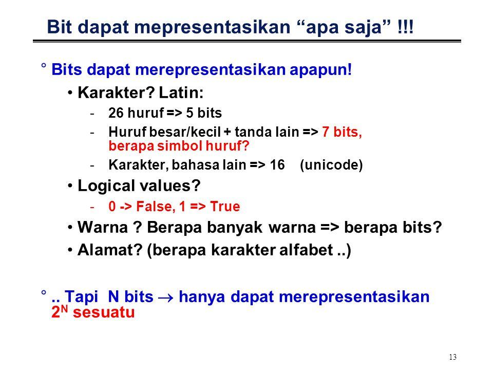 """13 Bit dapat mepresentasikan """"apa saja"""" !!! °Bits dapat merepresentasikan apapun! Karakter? Latin: -26 huruf => 5 bits -Huruf besar/kecil + tanda lain"""