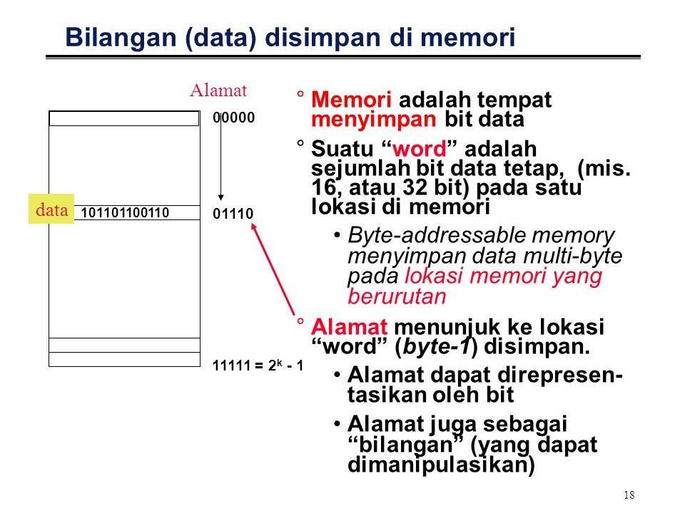"""18 Bilangan (data) disimpan di memori °Memori adalah tempat menyimpan bit data °Suatu """"word"""" adalah sejumlah bit data tetap, (mis. 16, atau 32 bit) pa"""