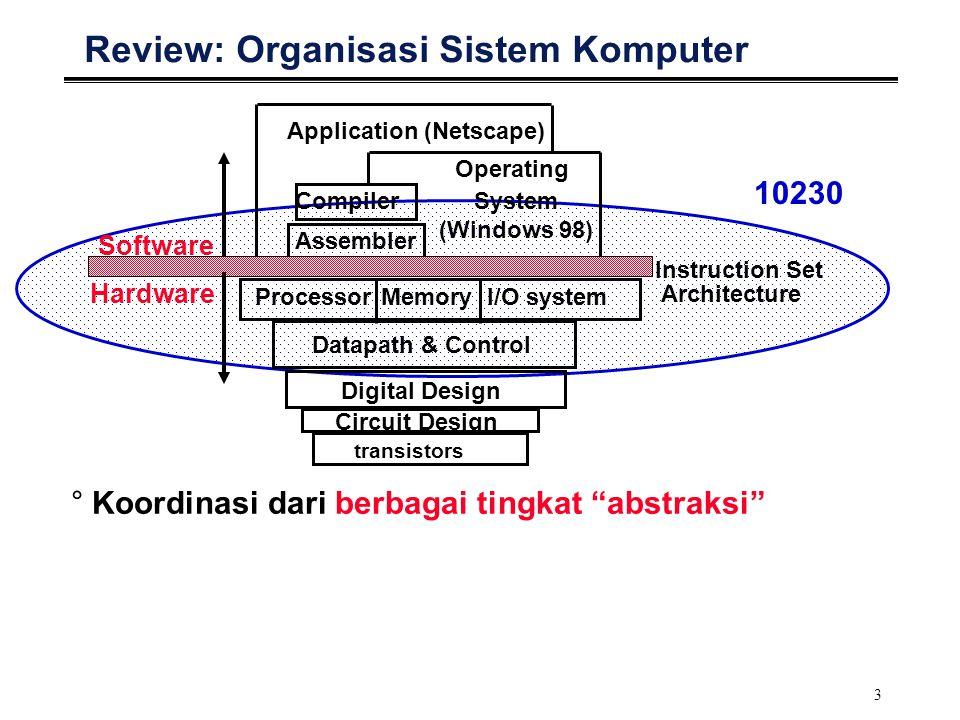 34 Eksekusi Instruksi (1/2) °Instruksi dan data bersama-sama berada di memori: Data diakses secara acak (tergantung alamat operand) Instruksi umumnya dijalankan secara berurut (sekuensial) °Urutan ini menjamin logika alur program: terdapat urutan perintah ke mesin.