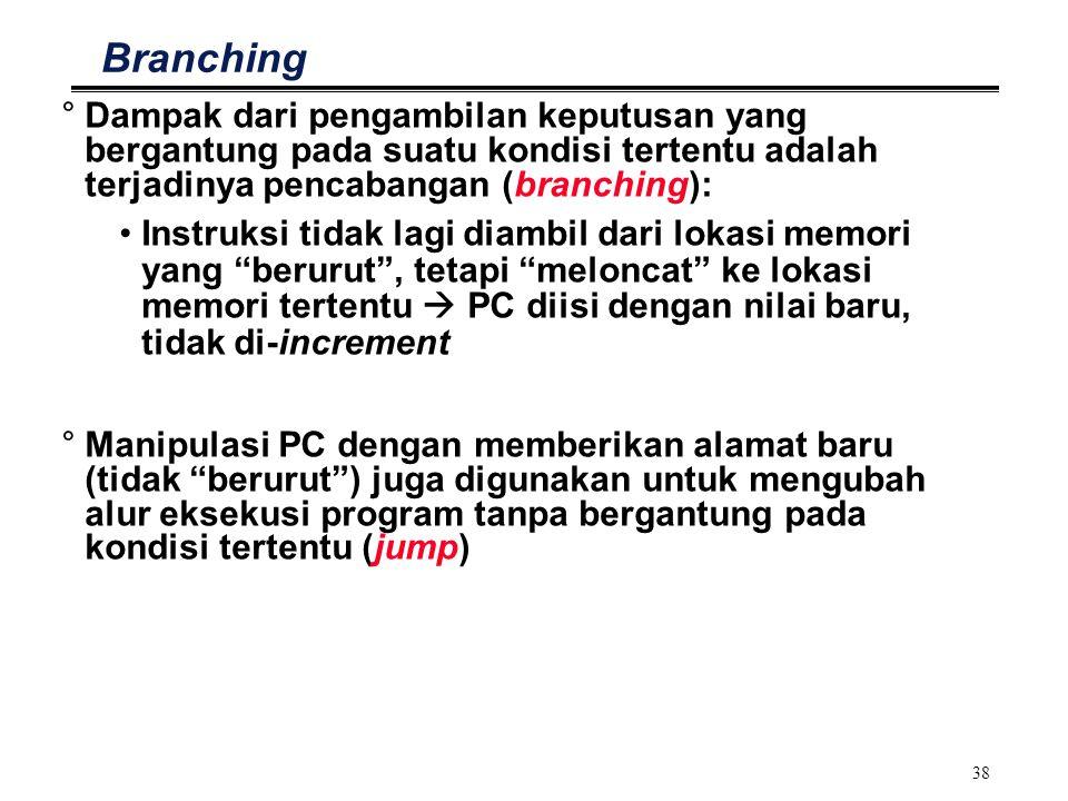 38 Branching °Dampak dari pengambilan keputusan yang bergantung pada suatu kondisi tertentu adalah terjadinya pencabangan (branching): Instruksi tidak