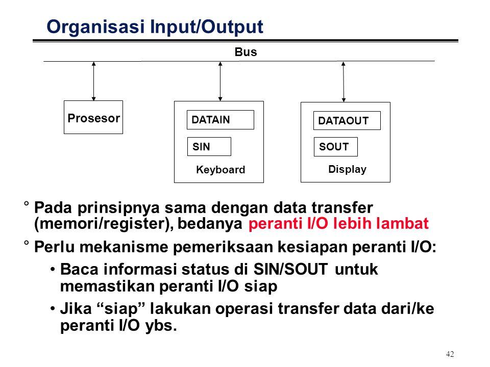 42 Organisasi Input/Output Prosesor Bus SOUT DATAOUT Display SIN DATAIN Keyboard °Pada prinsipnya sama dengan data transfer (memori/register), bedanya