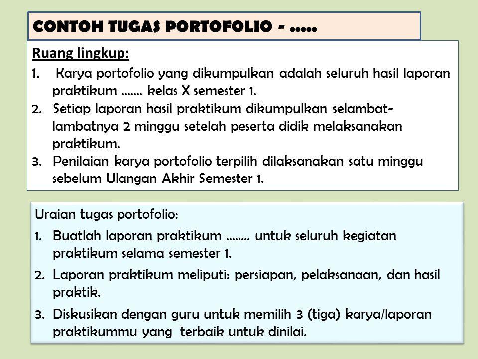 CONTOH TUGAS PORTOFOLIO -..... Ruang lingkup: 1. Karya portofolio yang dikumpulkan adalah seluruh hasil laporan praktikum....... kelas X semester 1. 2