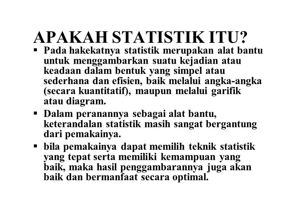 APAKAH STATISTIK ITU?  Pada hakekatnya statistik merupakan alat bantu untuk menggambarkan suatu kejadian atau keadaan dalam bentuk yang simpel atau s