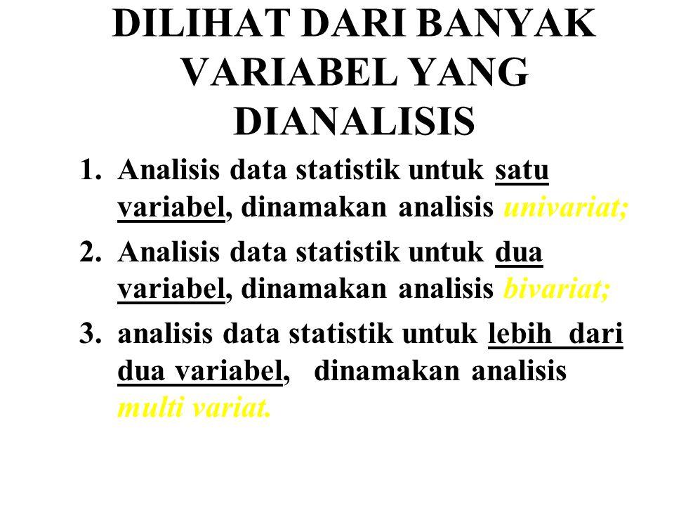 DILIHAT DARI BANYAK VARIABEL YANG DIANALISIS 1.Analisis data statistik untuk satu variabel, dinamakan analisis univariat; 2.Analisis data statistik un