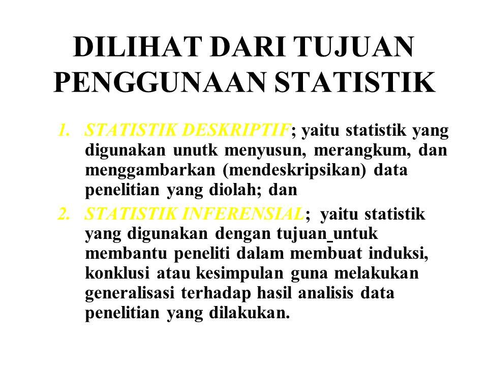 DILIHAT DARI TUJUAN PENGGUNAAN STATISTIK 1.STATISTIK DESKRIPTIF; yaitu statistik yang digunakan unutk menyusun, merangkum, dan menggambarkan (mendeskr