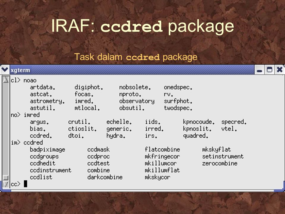 IRAF: ccdred package Task dalam ccdred package