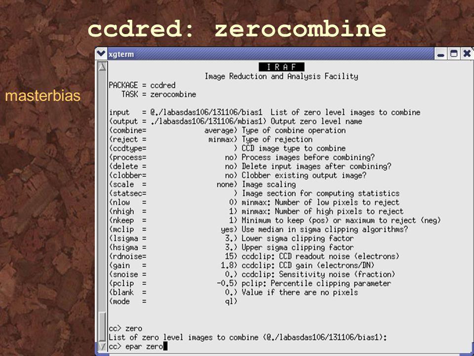 ccdred: zerocombine masterbias