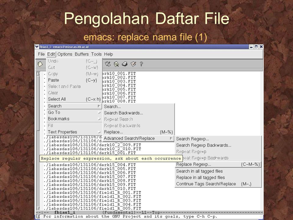 Pengolahan Daftar File emacs: replace nama file (1)