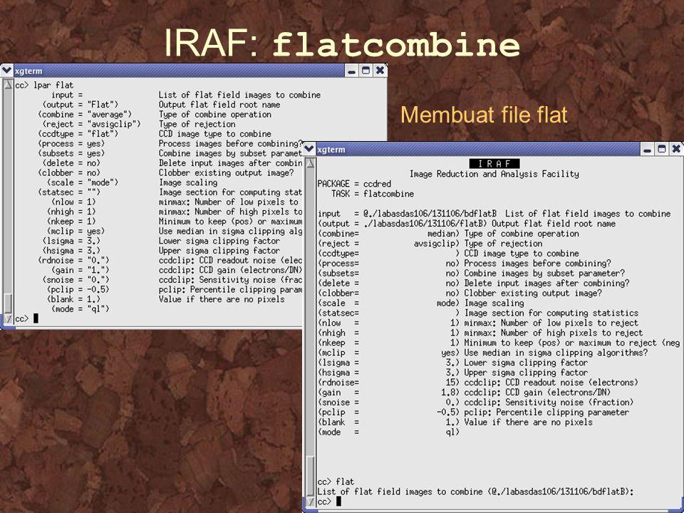 IRAF: flatcombine Membuat file flat