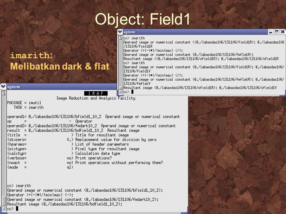 Object: Field1 imarith : Melibatkan dark & flat