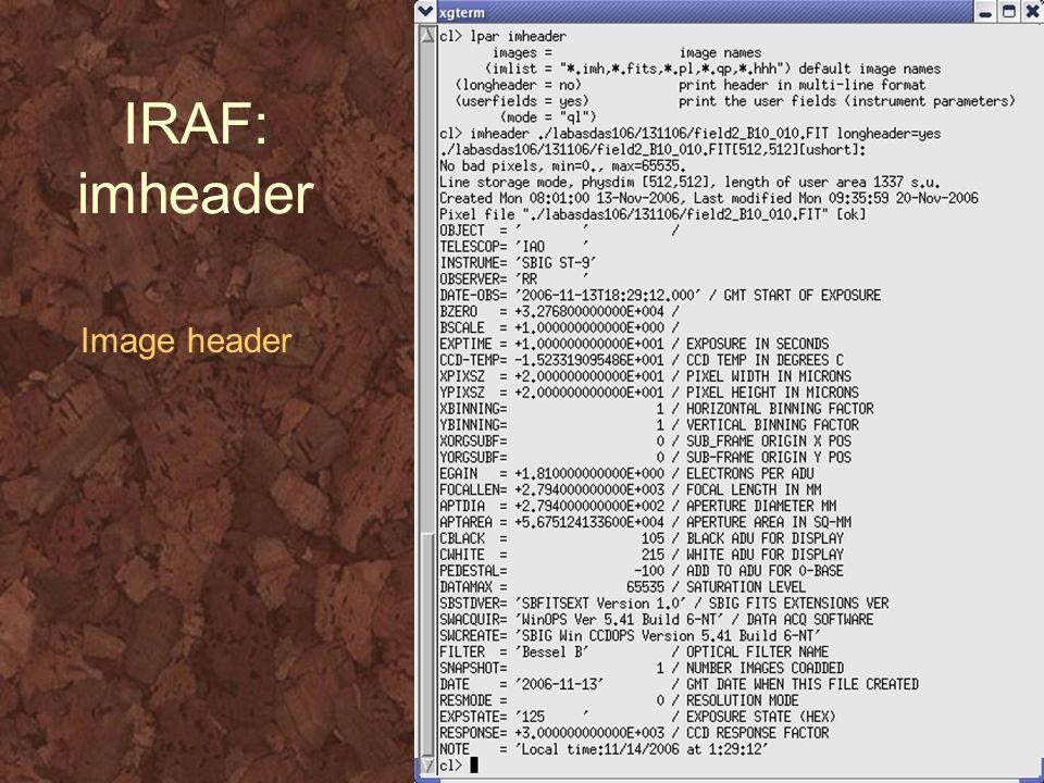 IRAF: imheader Image header