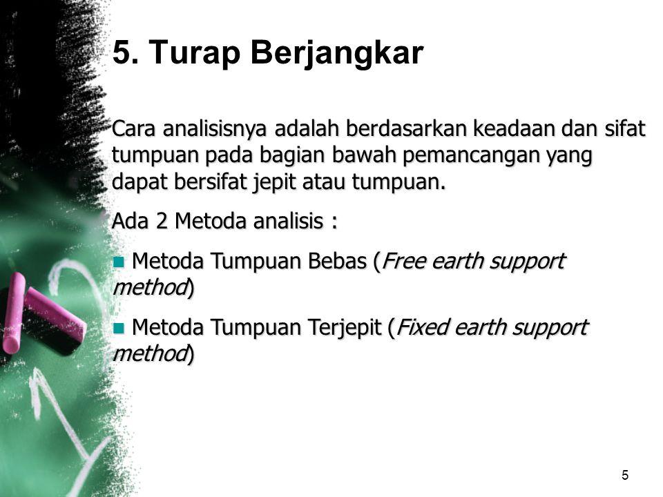 6 5.1Metoda Tumpuan Bebas (Free Earth Support Method) Pada tanah berbutir (non-kohesif) Metoda ini didasarkan pada beberapa anggapan : –Turap adalah kaku sempurna dibandingkan dnegan tanah sekitarnya –Turap bebas berotasi pada jangkar.