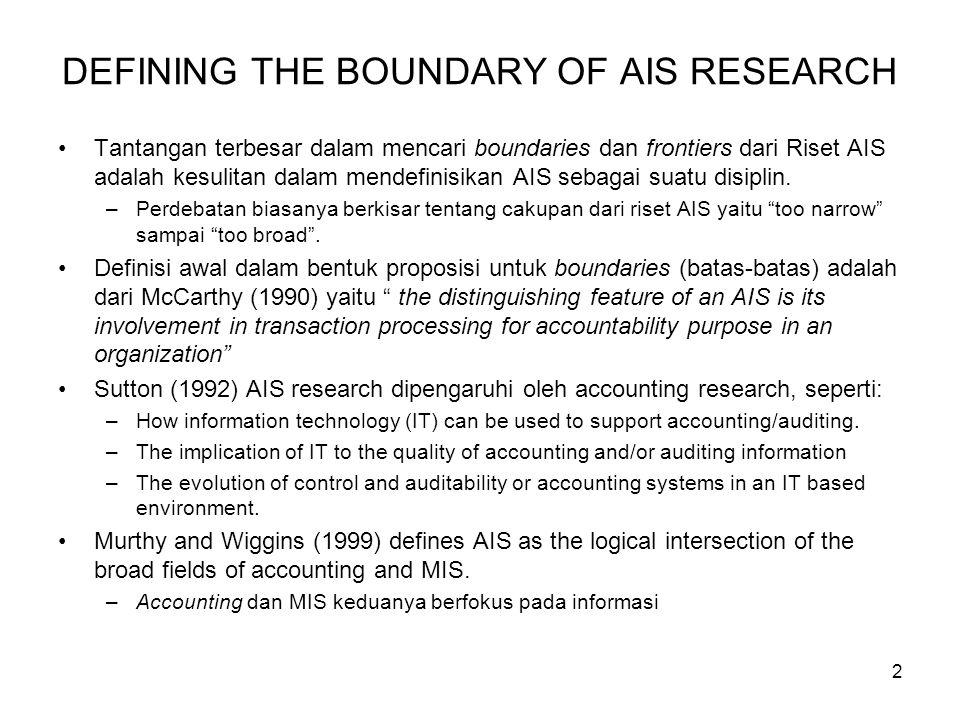 2 DEFINING THE BOUNDARY OF AIS RESEARCH Tantangan terbesar dalam mencari boundaries dan frontiers dari Riset AIS adalah kesulitan dalam mendefinisikan