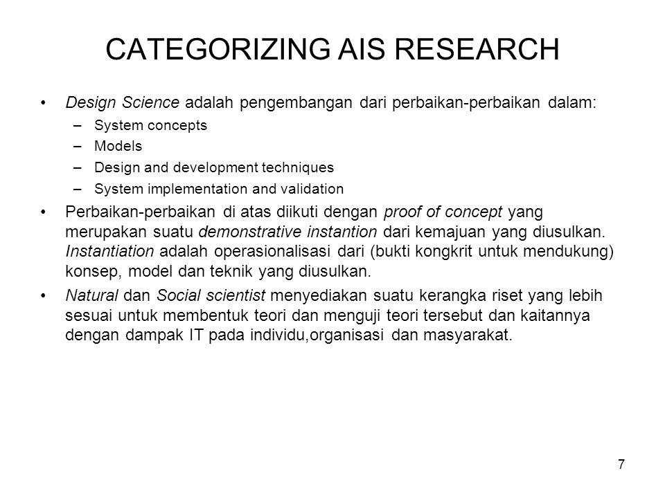 8 DESIGN SCIENCE RESEARCH IN AIS Design Science research dapat dikatakan merupakan suatu konsep asing bagi hampir semua peneliti-peneliti akuntansi.