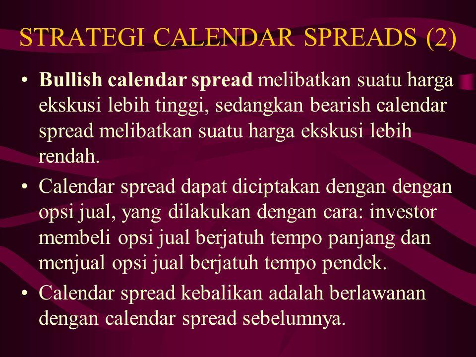 STRATEGI CALENDAR SPREADS (2) Calendar spread biasanya mensyaratkan investasi awal. Investor mendapatkan keuntungan jika harga saham pada saat berakhi