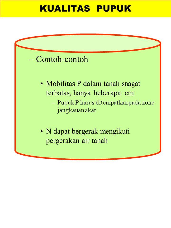 –Contoh-contoh Mobilitas P dalam tanah snagat terbatas, hanya beberapa cm –Pupuk P harus ditempatkan pada zone jangkauan akar N dapat bergerak mengiku