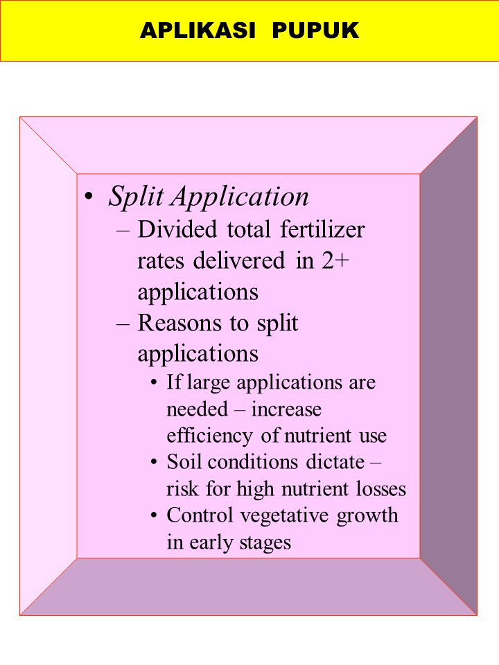 Split Application –Divided total fertilizer rates delivered in 2+ applications –Reasons to split applications If large applications are needed – incre