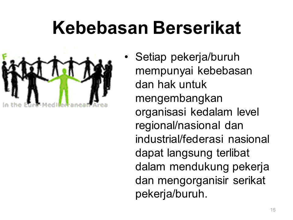 15 Kebebasan Berserikat Setiap pekerja/buruh mempunyai kebebasan dan hak untuk mengembangkan organisasi kedalam level regional/nasional dan industrial/federasi nasional dapat langsung terlibat dalam mendukung pekerja dan mengorganisir serikat pekerja/buruh.
