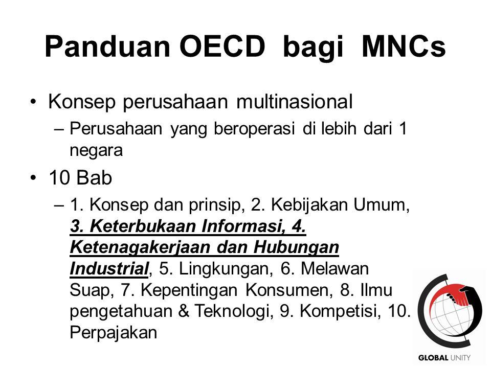 26 Panduan OECD bagi MNCs Konsep perusahaan multinasional –Perusahaan yang beroperasi di lebih dari 1 negara 10 Bab –1.